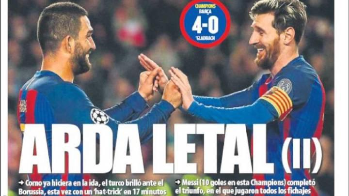 Portada del diario Mundo Deportivo del día 7 de diciembre de 2016.