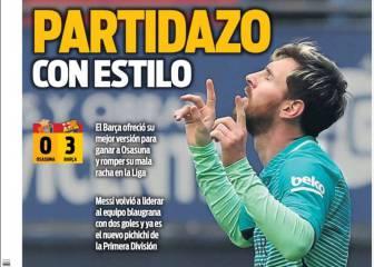 Prensa de Barcelona: el Barça recupera el estilo