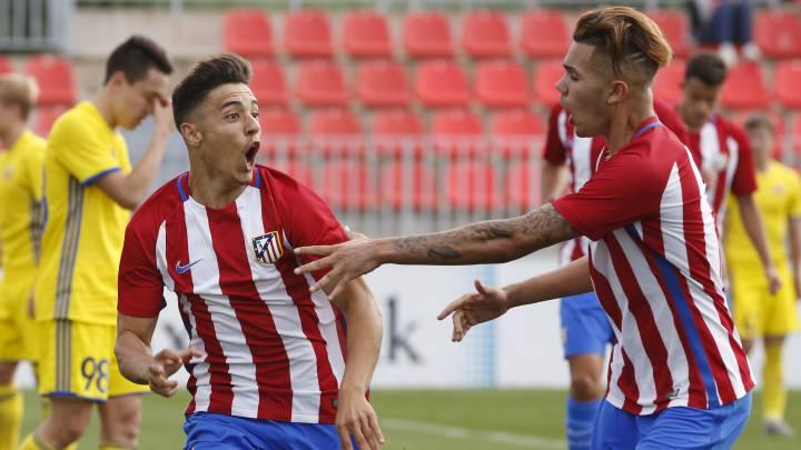 Jugadores del Atlético celebran un gol ante el Rostov en la Youth League.