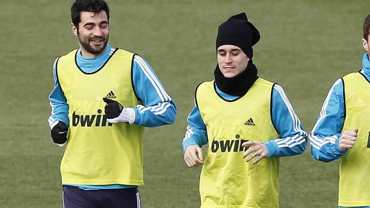 Albiol y Callejón entrenando cuando estaban en el Madrid