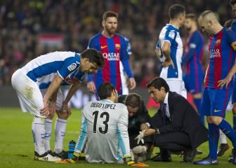 Diego López sufrió un corte en la rótula tras chocar con Suárez