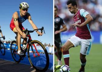 Arbeloa se hace con la bici de pentacampeón de Gómez Noya