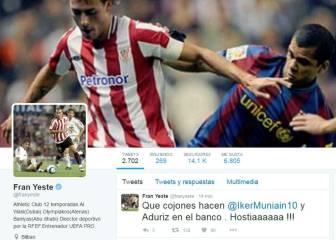 Yeste indignado en Twitter con la suplencia de Muniain y Aduriz