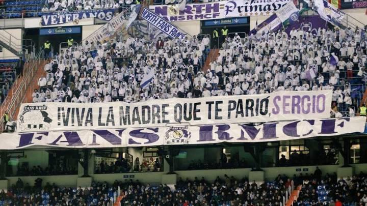 Pancarta dedicada a Sergio Ramos