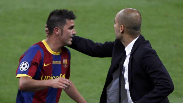 David Villa y Pep Guardiola.