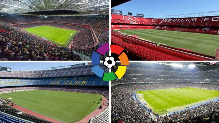 San Mamés, Camp Nou, Santiago Bernabéu y Sánchez Pizjuán, estadios de LaLiga Santander