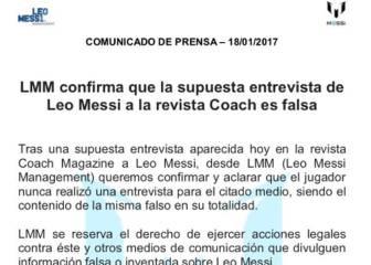 Comunicado de Messi: falsa la entrevista con la revista 'Coach'