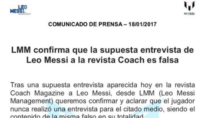 Comunicado de Messi: es falsa la entrevista en la revista \'Coach\'