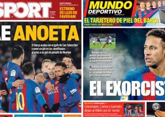 El triunfo de Anoeta, único tema en las portadas de Barcelona