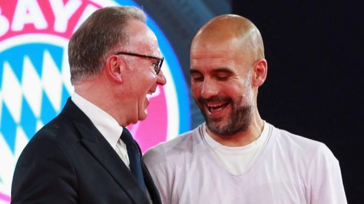 Rummenigge y Guardiola durante la etapa del técnico en el Bayern de Múnich.