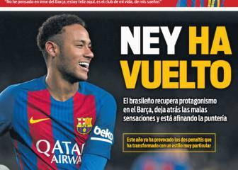 Halagos de la prensa de Barcelona al mejor Neymar