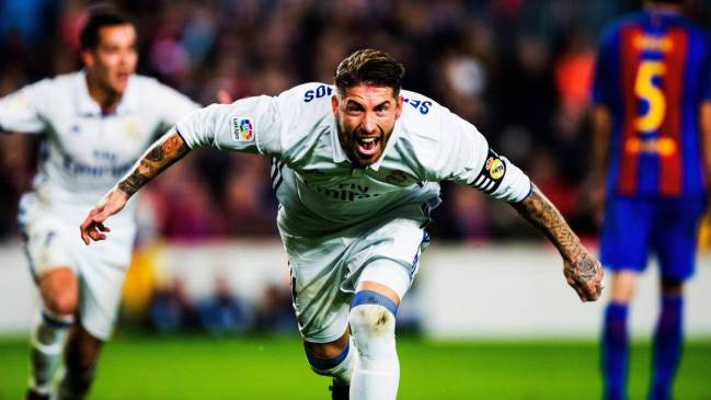 Ramos celebrates his 500th game for Real Madrid.