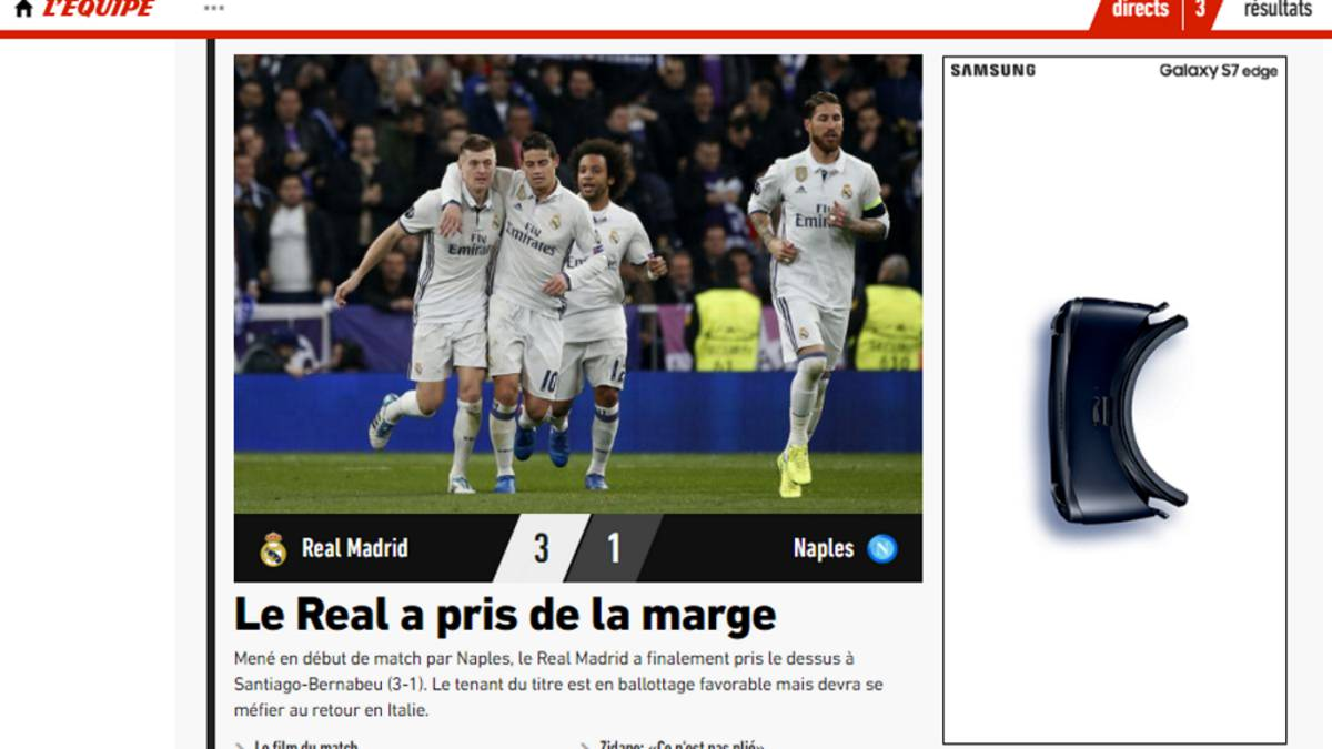 La Prensa ve favorito al Madrid para pasar la eliminatoria