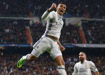Real Madrid\'s Casemiro enjoys Champions League goal with fans