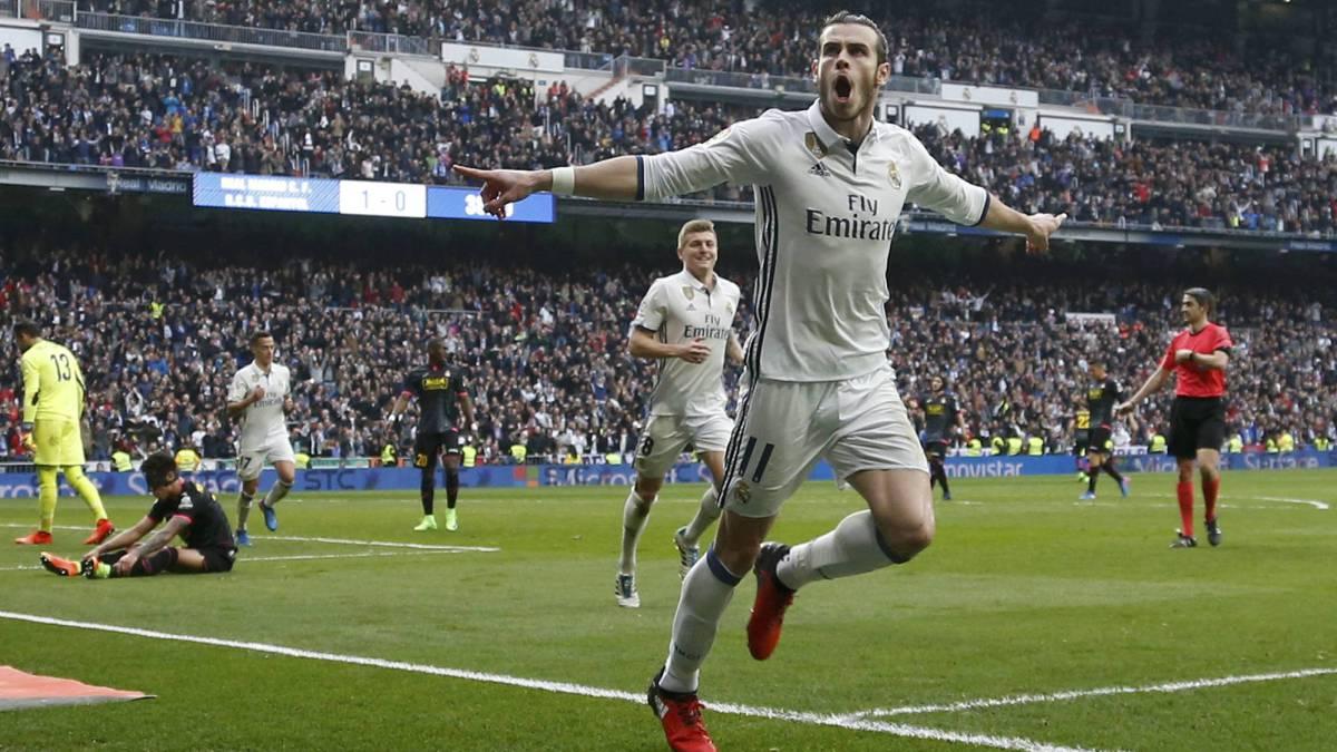 Bale celebra su gol al Espanyol.
