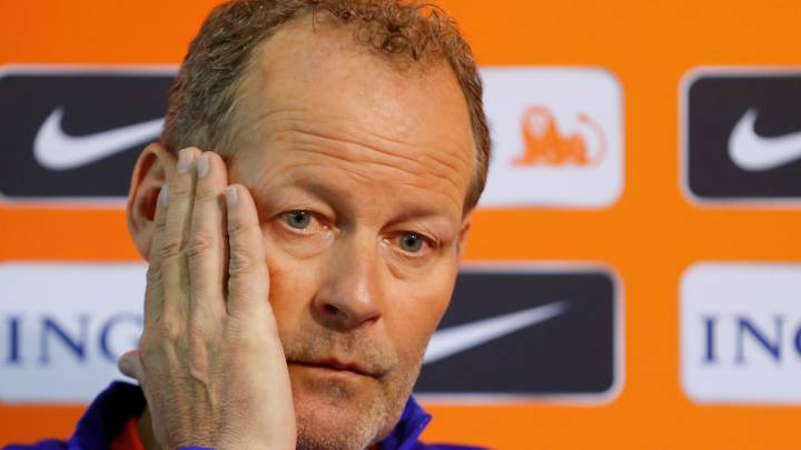 Netherlands national team head coach Danny Blind attends a press conference.