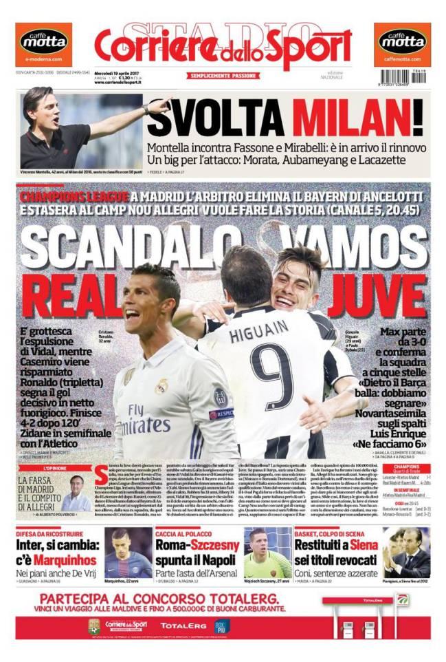 Portada de 'Corriere dello Sport' del miércoles, 19 de abril de 2017.