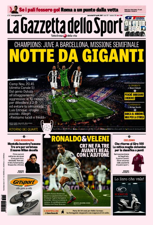 Portada de 'La Gazzetta dello Sport' del miércoles, 19 de abril de 2017.