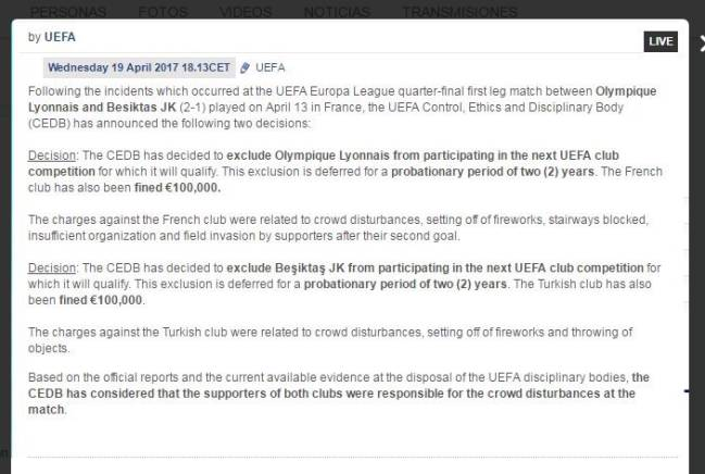 Acta que impone la sanción de no poder jugar competiciones europeas a Besiktas y Lyon si reinciden.