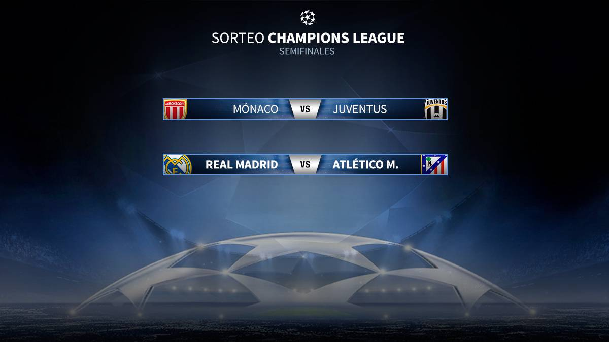 Semifinales de la Champions: Madrid-Atlético y Mónaco-Juve