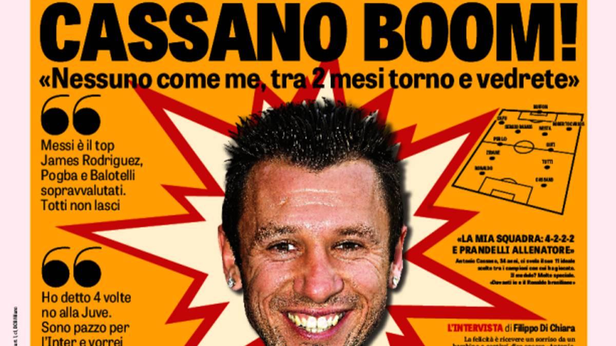 Antonio Cassano dijo que James Rodríguez está sobrevalorado