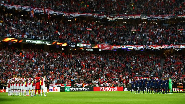 General view inside the stadium as Players, fans, and officals take part in a minutes silence in memory of the victims of the Manchester Concert attack prior to the UEFA Europa League Final between Ajax and Manchester United at Friends Arena on May 24, 2017 in Stockholm, Sweden.