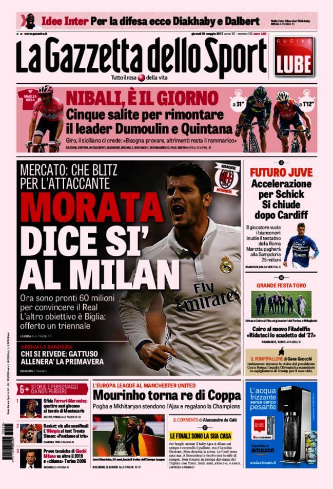 Portada de 'La Gazzetta dello Sport' del jueves, 25 de mayo de 2017.