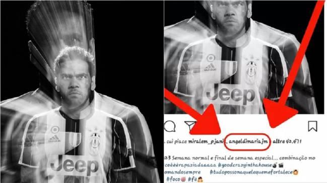 La captura del Instagram de Dani Alves de 'Corriere dello Sport' con el 'like' de Di María.
