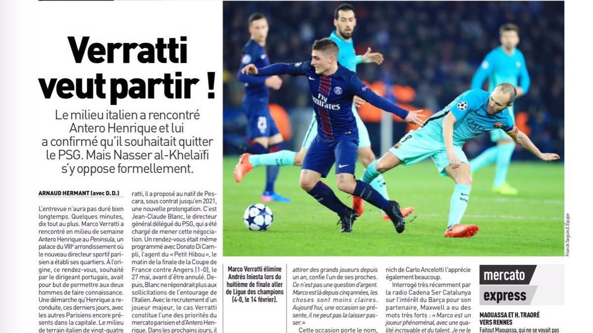 Verratti le pide al PSG que lo deje ir al Barcelona