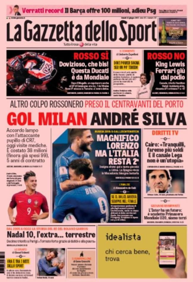 Portada de La Gazzetta dello Sport del día 12 de junio de 2017.