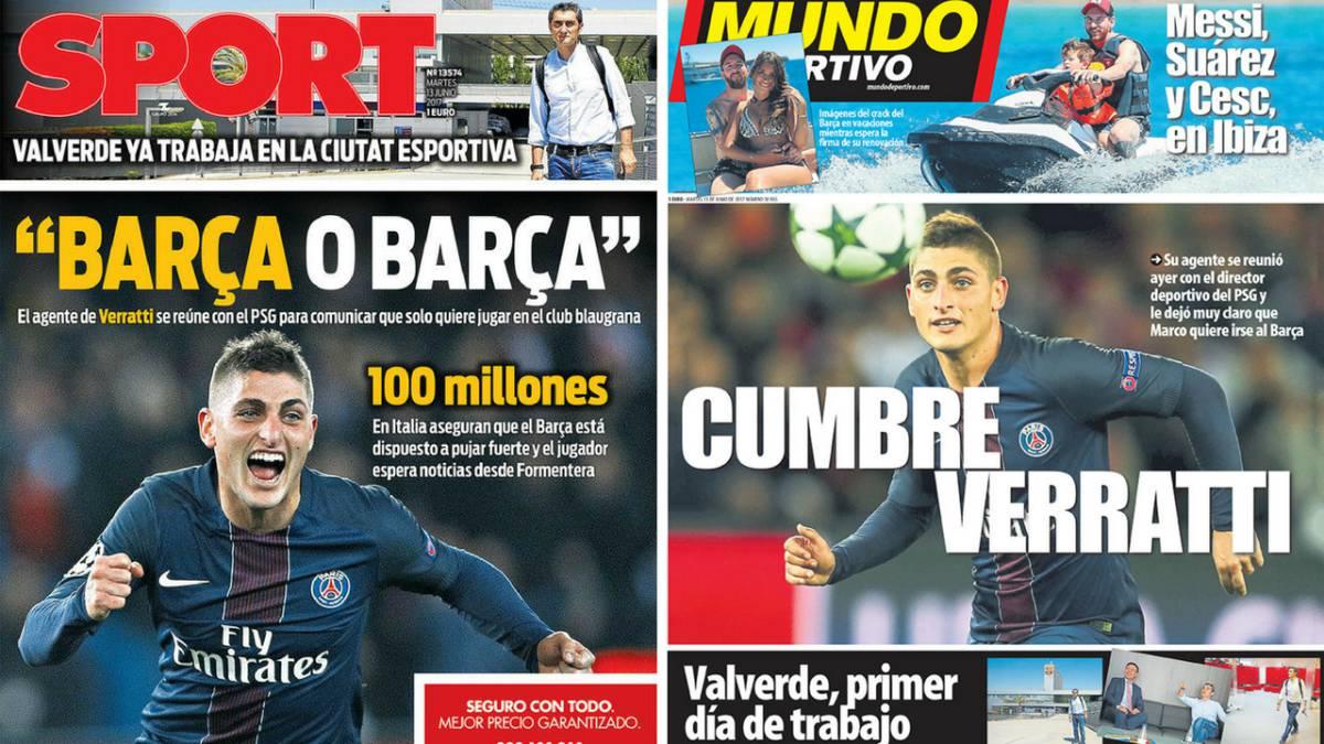 Barcelona habría ofrecido 100 millones de euros a Marco Verratti