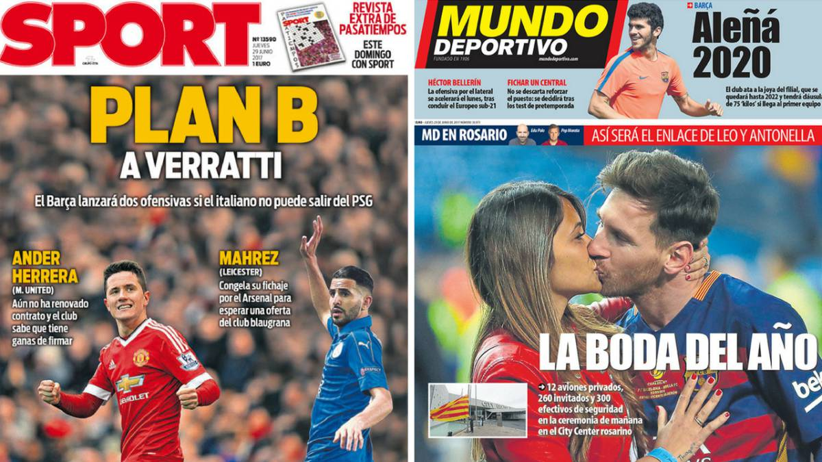 233b09e64d Barcelona | Una catarata de nombres y la boda de Messi, en las portadas -  AS.com