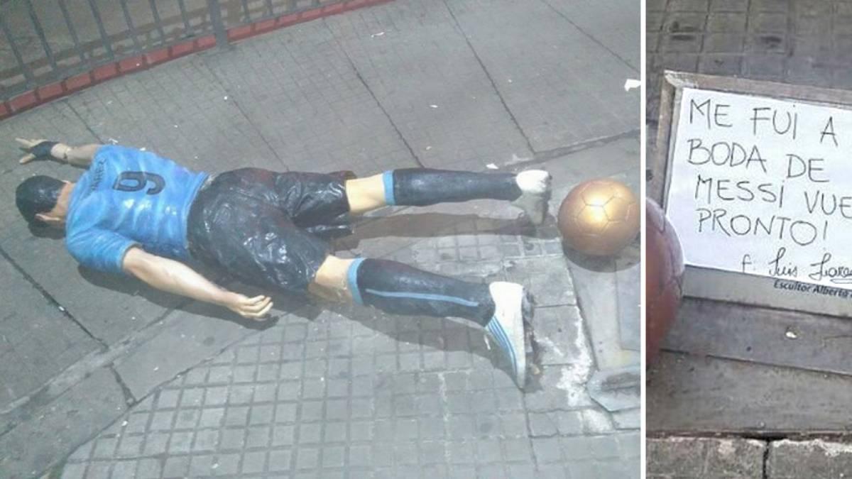 Atacaron la estatua de Luís Suárez en Uruguay
