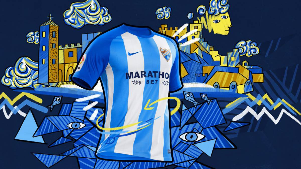 f448468e4c5c4 El Málaga da a conocer el diseño de su primera camiseta 2017-18 - AS.com
