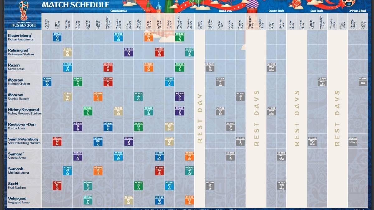 Consulta El Calendario Del Mundial De Rusia