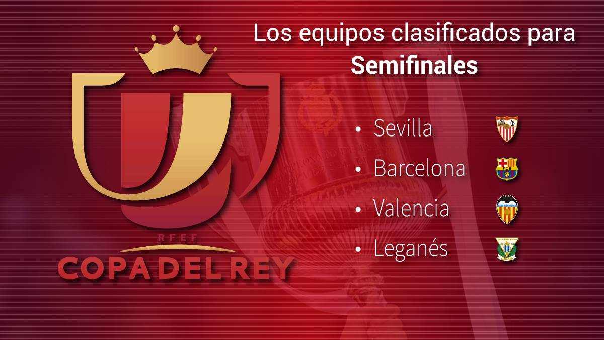 Barcelona-Valencia y Sevilla-Leganés en semifinales de Copa del Rey