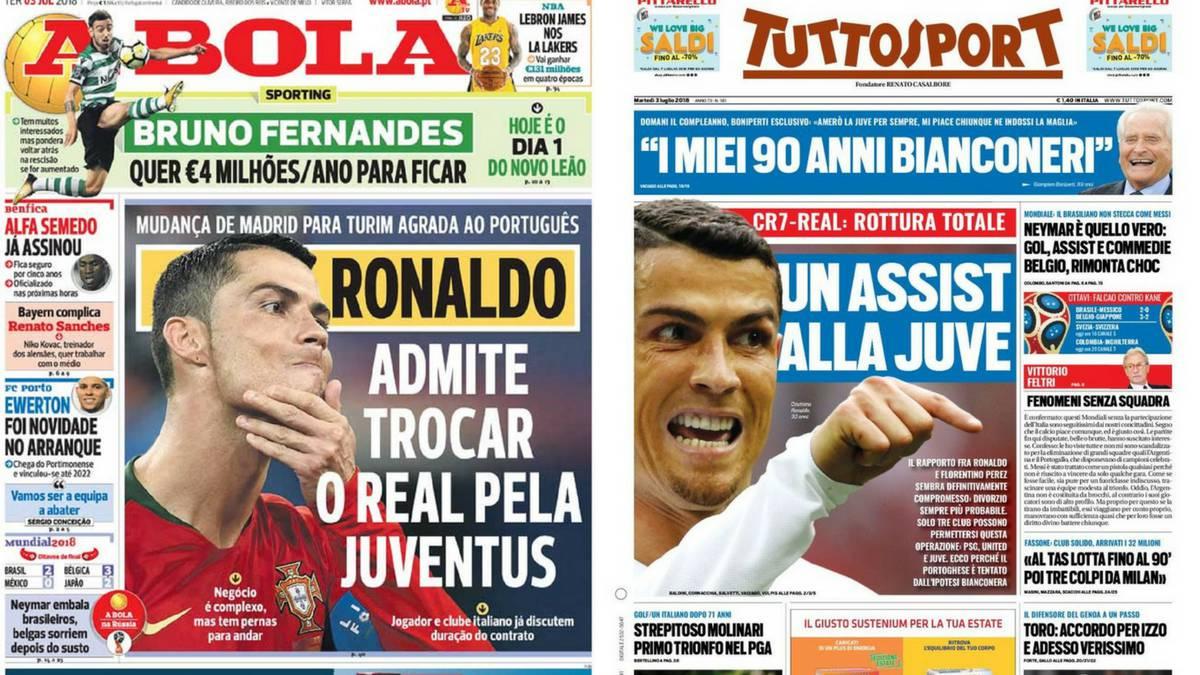 adf0b30cb30a3 Portadas de los diarios A Bola y Tuttosport del día 3 de julio de 2018.