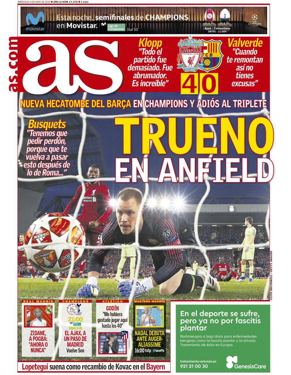 """""""Trueno en Anfield"""", """"El mayor ridículo de la historia"""", """"Increíble""""..."""