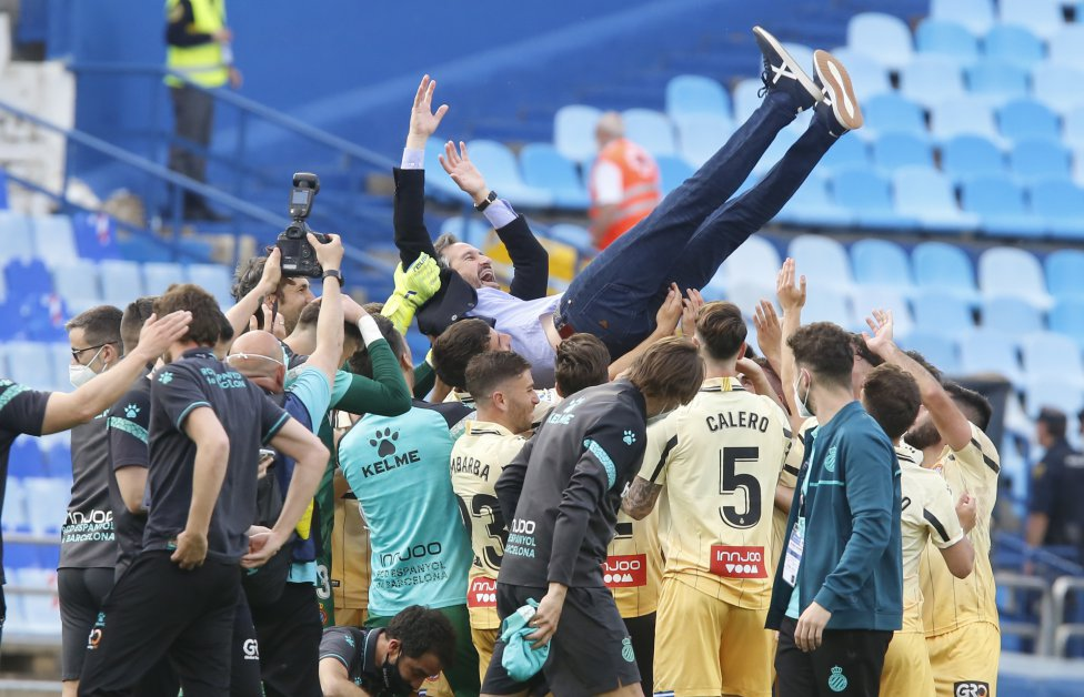 Los jugadores del Espanyol celebrando el ascenso matemático a primera división