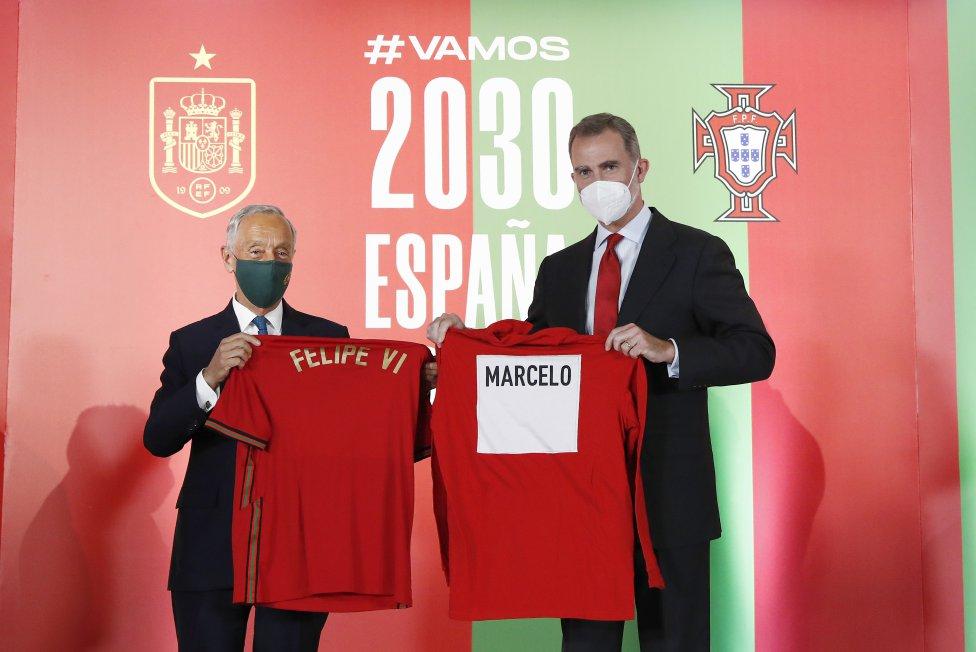 El presidente de la República de Portugal, Marcelo Rebelo de Sousa y S.M el rey Felipe VI.