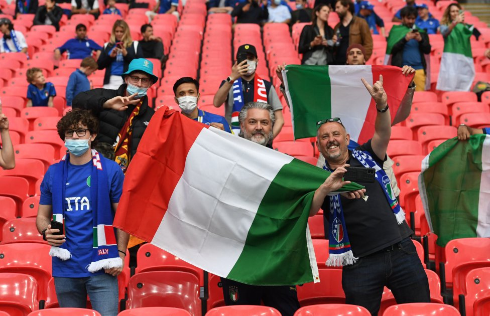 Aficionados de la selección de Italia.