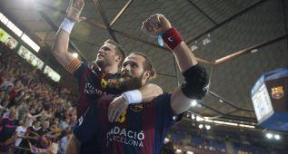 El Barcelona estrena su título liguero goleando al Aranda