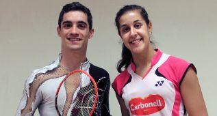 Carolina Marín rueda un anuncio junto a Javier Fernández