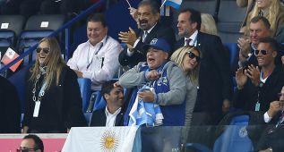 Maradona asiste al Argentina-Tonga del Mundial de rugby