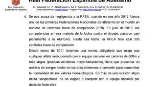 """La RFEA admite que protegió a """"sospechosos"""" de dopaje"""
