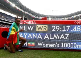 La etiope Ayana, oro y brutal récord del mundo en 10.000