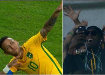 Neymar le dedicó su golazo de falta en Maracaná a Bolt