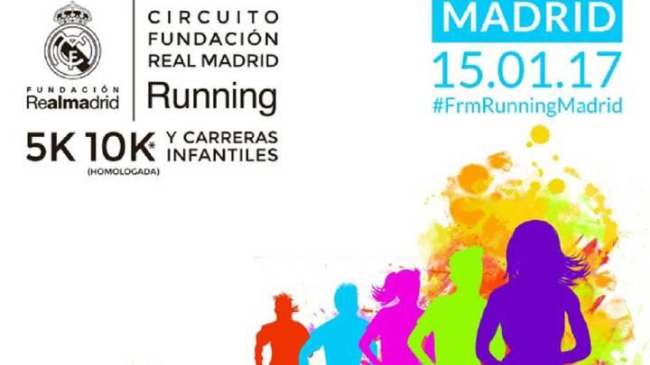 Cartel promocional de la I Carrera Solidaria de la Fundación Real Madrid que se celebrará el próximo 15 de enero en Madrid.