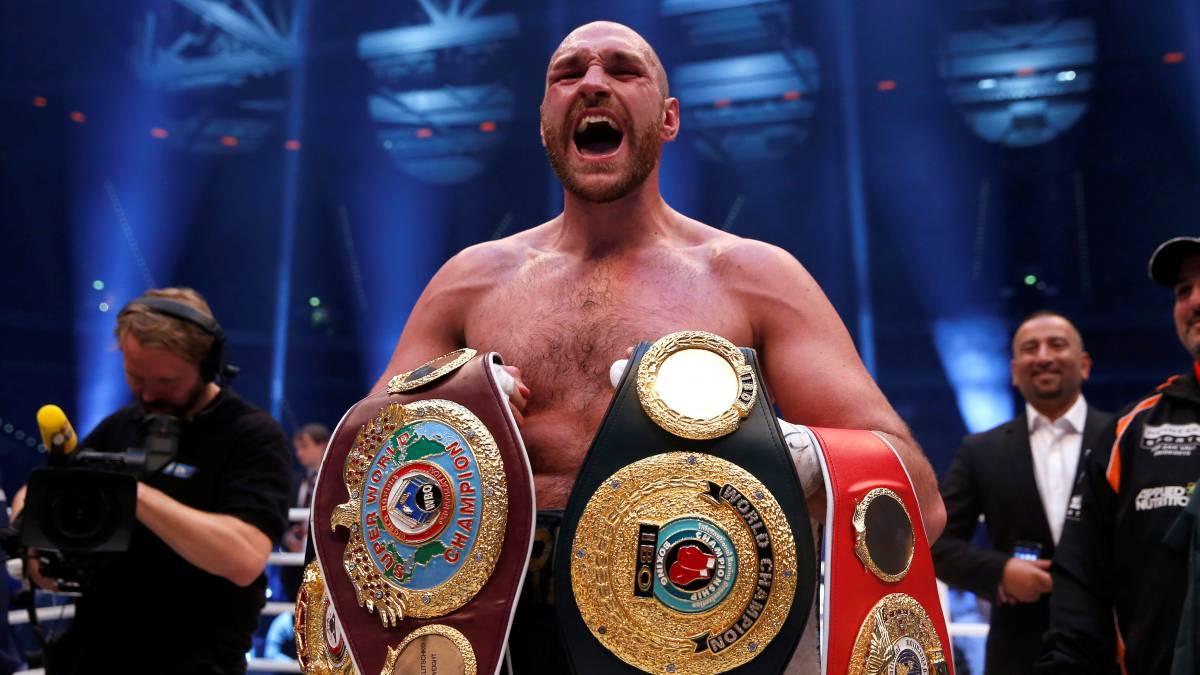 Tyson Fury celebra su victoria ante wladimir Klitschko.
