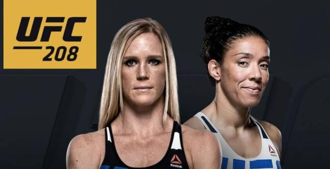 Holly Holm (izquierda) y Germaine de Randamie (derechea) en el cartel promocional del UFC 208.